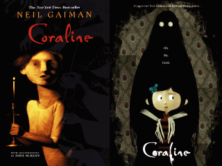 Coraline by Neil Gaiman — book cover and movie poster