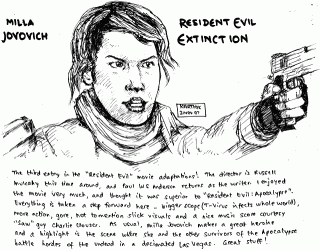 Milla Jovovich in Resident Evil: Extinction — Drawing by Karthik Abhiram