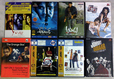 "Today's Purchases — DVDs of ""Yuva"", ""A Film by Aravind"", ""Athadu"", ""Go"", ""Ek Chalis Ki Last Local"", ""Munnabhai M B B S"" and ""Johnny Gaddaar"" and ""The Orange Box"" (which contains 5 games)!"