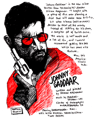 Johnny Gaddaar — Drawing by Karthik Abhiram