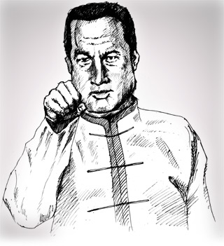 "Steven Seagal in ""Cockpuncher"" — Drawing by Karthik Abhiram — Click for complete, uncensored image!"
