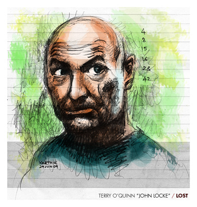 Terry O'Quinn as John Locke from Lost — Drawing by Karthik Abhiram